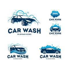 Set of Car Wash logo designs concept vector, Automotive Cleaning logo template