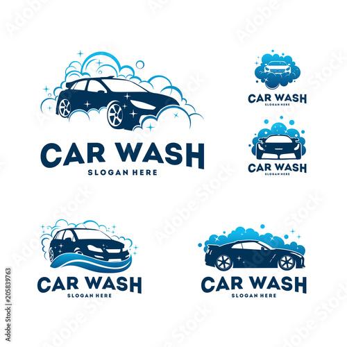 Fotografía  Set of Car Wash logo designs concept vector, Automotive Cleaning logo template