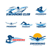 Set Of Swimming Logo Designs V...