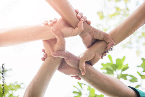 Fotografie, Tablou  College Students Teamwork Stacking Hand Concept