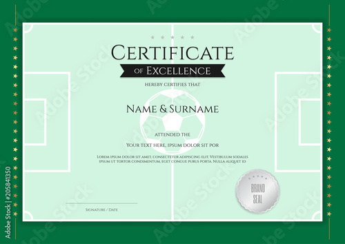 certificate template in football sport theme with green field border