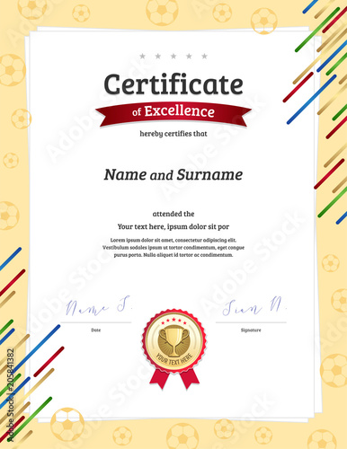 Certificate Template In Football Sport Theme With Ball Border Frame