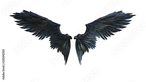 Fényképezés  3d Illustration Demon Wings, Black Wing Plumage Isolated on White Background with Clipping Path