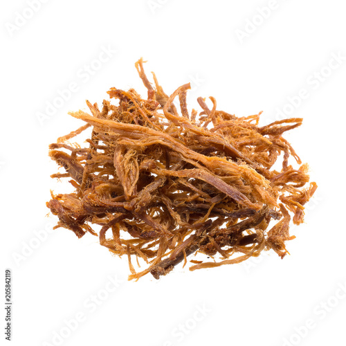 Dried shredded pork isolated on a white background