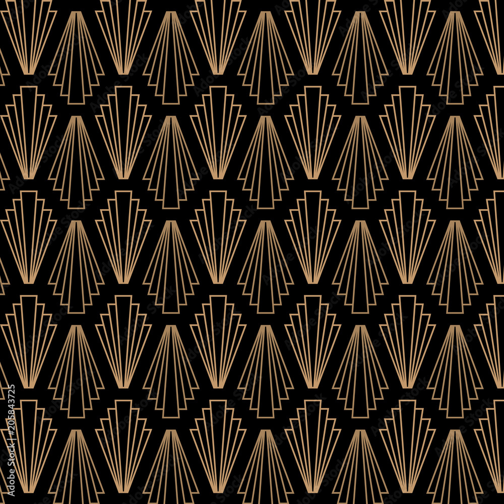 Retro, vintage, art deco, great gatsby, seamless vector pattern.