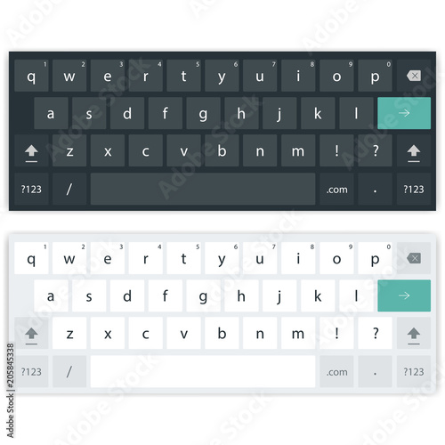 Mobile keyboard for smartphone. Two keypad template, light and dark. Vector illustration Wall mural