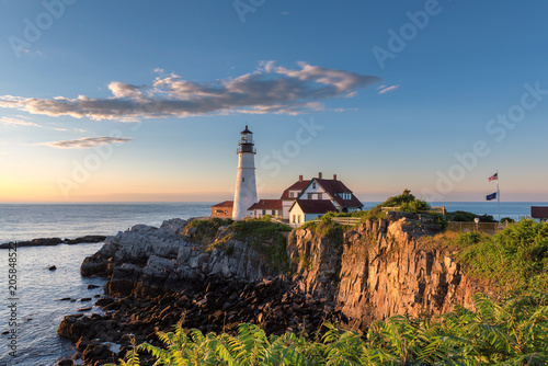 Portland Head Lighthouse in Cape Elizabeth, New England, Maine, USA.
