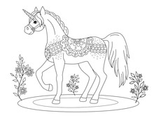 Coloring Page, Fairy-tale Unicorn In Folk Style