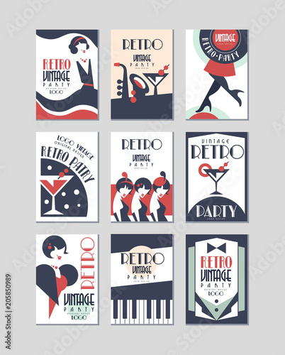 Vintage party logo design, retro style poster vector Illustrations