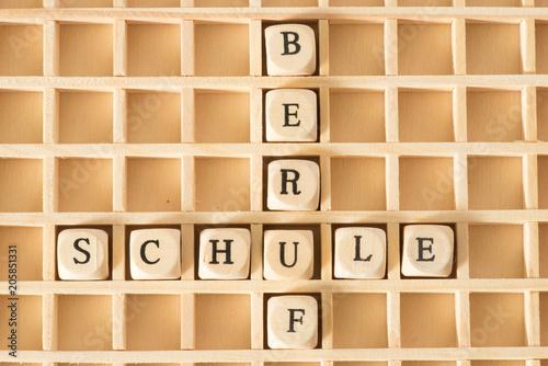 Fotografía  Holzbuchstaben und Worte Schule und Beruf
