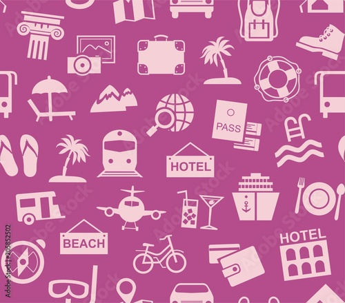 Travel Vacation Tourism Seamless Pattern Purple Color Vector