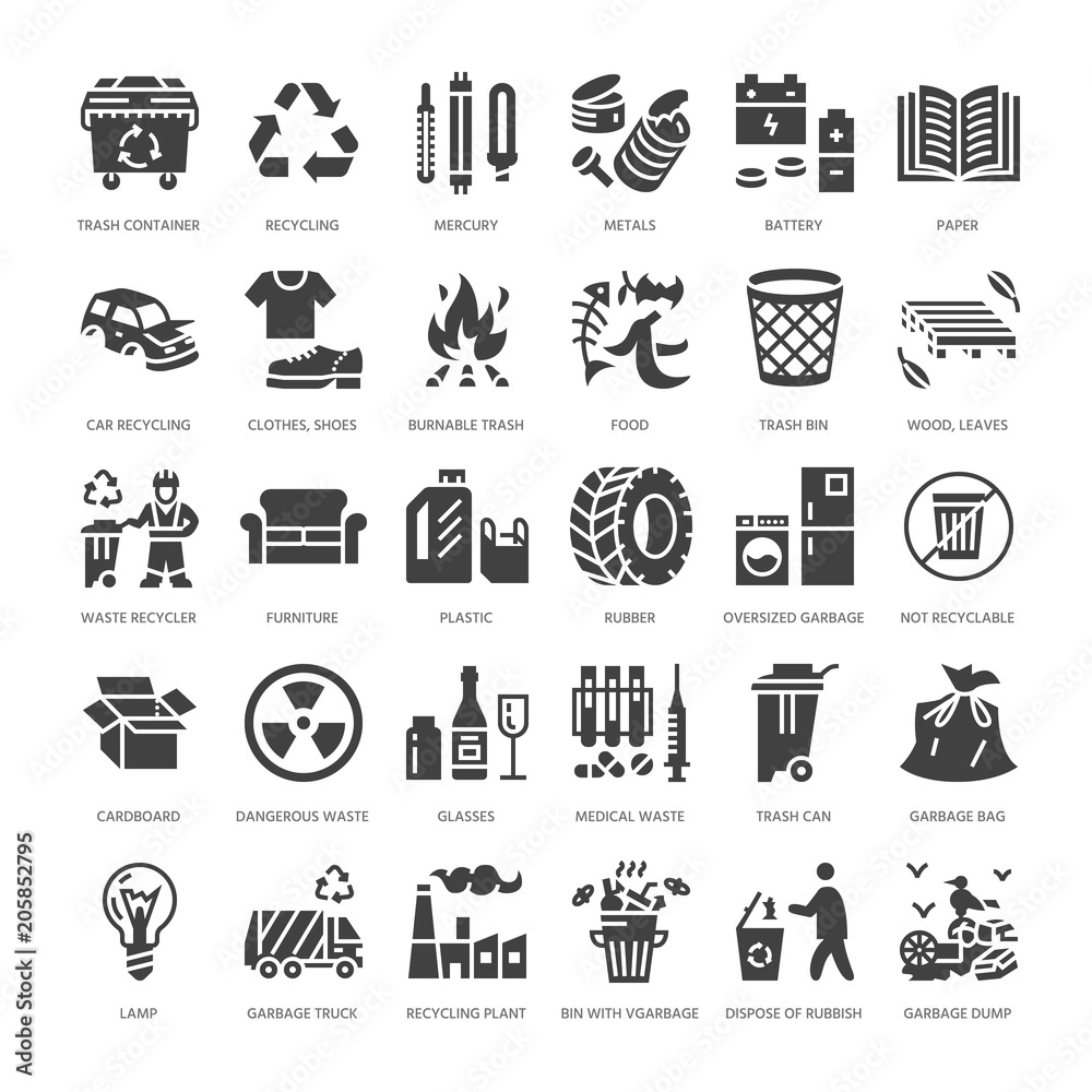 Fototapeta Recycling flat glyph icons. Pollution, recycle plant. Garbage sorting types - paper, glass, plastic, metal, flammable trash. Thin linear signs waste management. Solid silhouette pixel perfect 64x64.