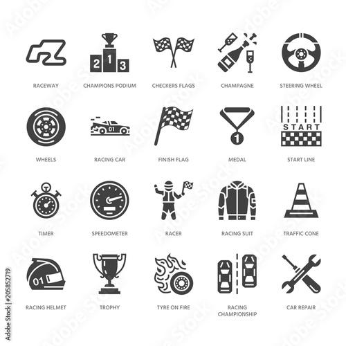 Obraz na płótnie Car racing vector flat glyph icons