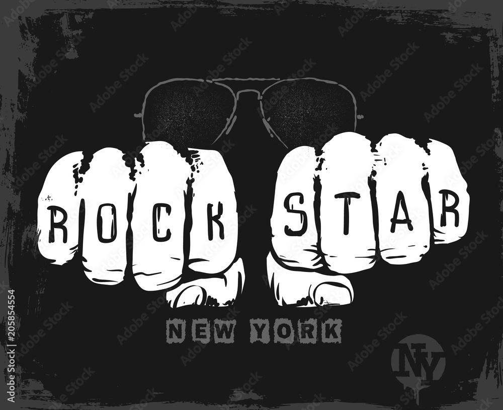 Projekt Graficzny Gwiazda Rocka Drukowanie T Shirt