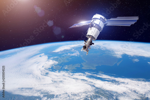 Fotobehang Nasa Research, probing, monitoring of in atmosphere. Satellite for monitoring the weather in the polar orbit above the Earth. Elements of this image furnished by NASA.