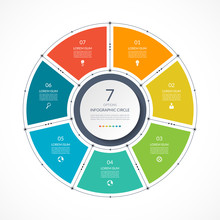 Infographic Circle In Thin Line Flat Style. Business Presentation Template With 7 Options, Parts, Steps. Vector Illustration