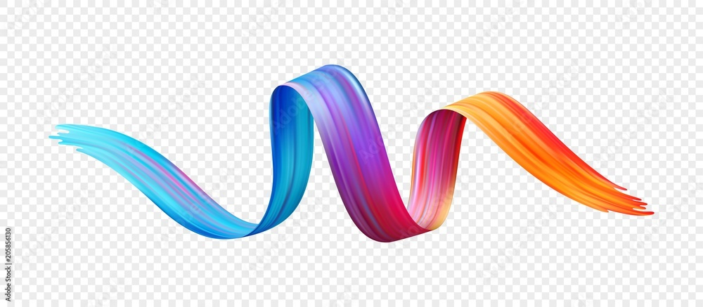 Fototapeta Color brushstroke oil or acrylic paint design element. Vector illustration