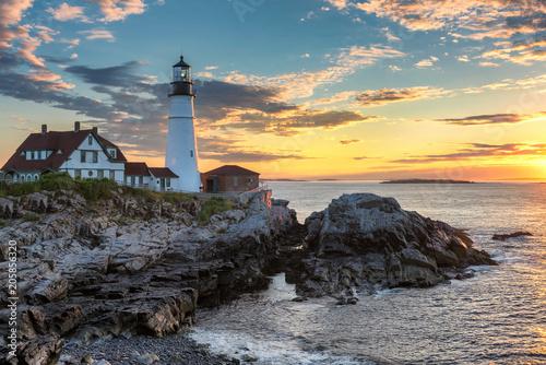 Garden Poster Portland Lighthouse at sunrise in Cape Elizabeth, New England, Maine, USA