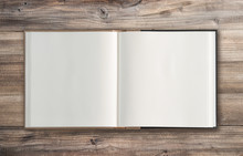 Open Book Wooden Background Minimal Flat Lay