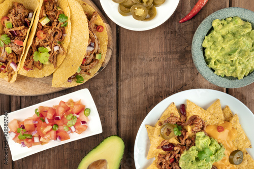 Overhead photo of assortment of Mexican foods