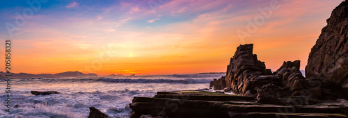 Fotografering  Sunset on the Basque coast