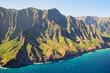 Kauai, Hawaii, USA: Na Pali Coast State Wilderness Park seen from above (helicopter)