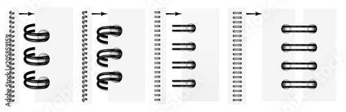 Vector set of realistic images (mock-up, layout) of black spirals for a notebook: a top view, a perspective view, a spiral of an open notepad Fototapete