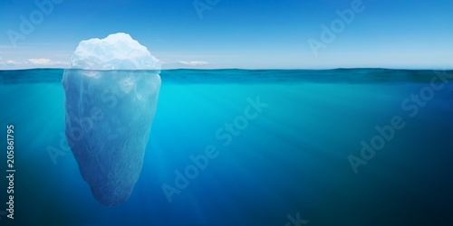 Photo Underwater view on big iceberg floating in ocean