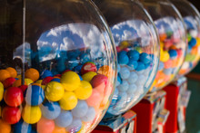 A Few Gumball Machines In A Row