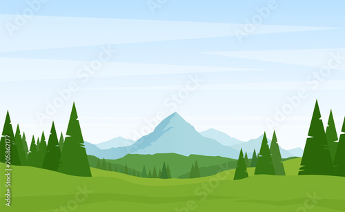 Fotobehang Wit Summer Alpine Mountains landscape with pines on foreground