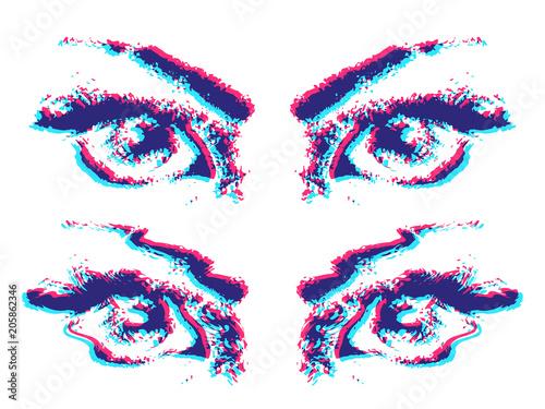 Anaglyph grunge eyes. Canvas Print