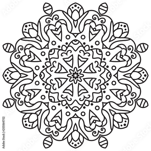 Photo  Vector flower mandala for coloring book