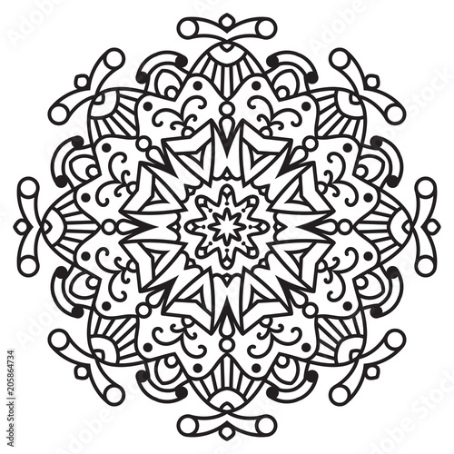 Vector flower mandala for coloring book Canvas Print
