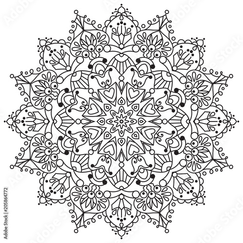 Vector flower mandala for coloring book Wallpaper Mural