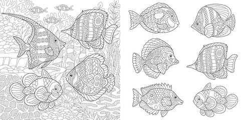 Underwater Ocean world. Shoal of tropical fishes of different species. Coloring Pages. Adult Coloring Book idea. Antistress freehand sketch collection.