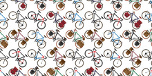 Bicycle Seamless Pattern Vector Cycling Isolated Vintage Background Repeat Wallpaper Illustration Graphic