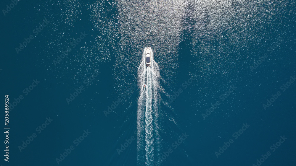 Fototapety, obrazy: Aerial view on the sea and boat. Beautiful natural seascape at the summer time