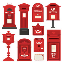 Red English Post Box Set With ...