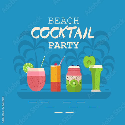 beach cocktail party invitation card or poster with smoothies and