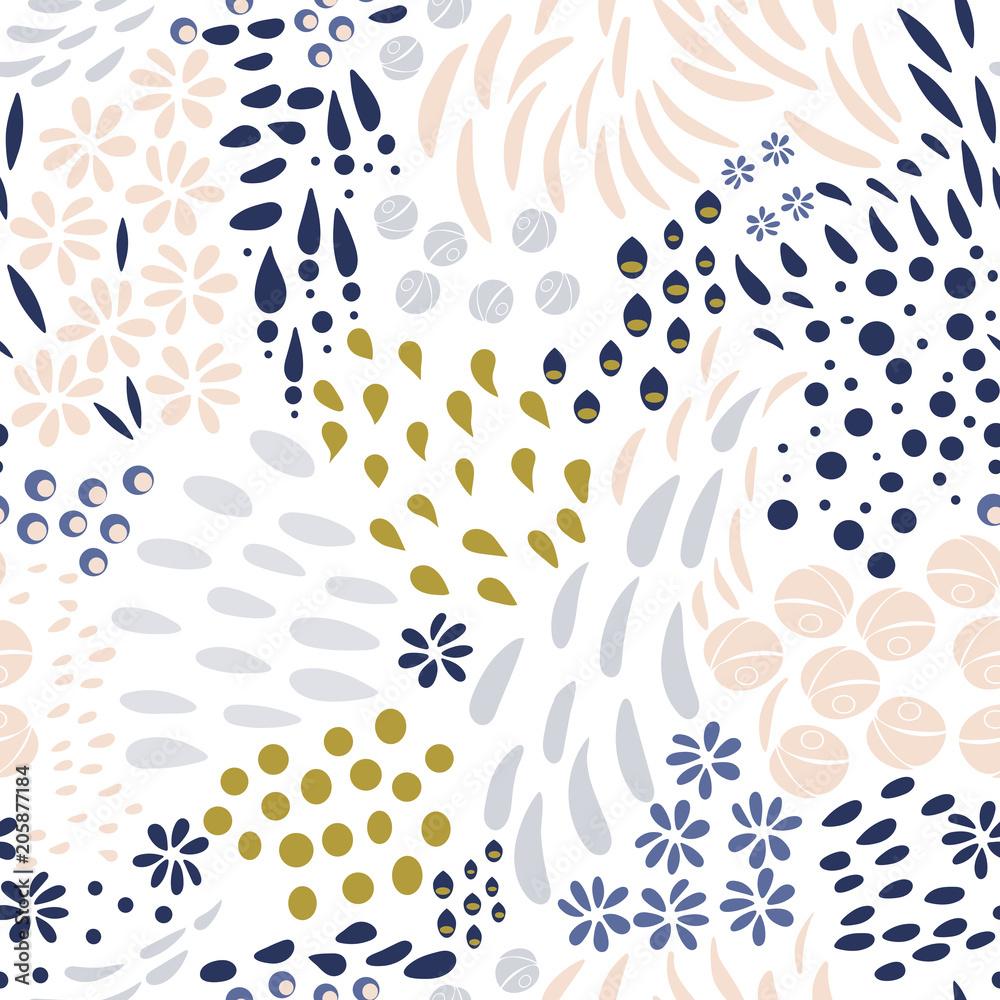 Fototapeta Vector organic seamless abstract background, botanical motif, freehand doodles pattern. - obraz na płótnie