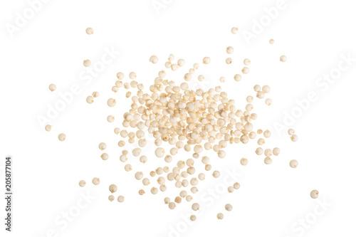 Fototapeta white quinoa seeds isolated on white background. Top view obraz