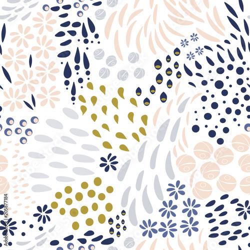 Fototapeta Vector organic seamless abstract background, botanical motif, freehand doodles pattern. obraz na płótnie