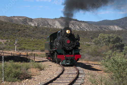 Quorn South Australia, View of approaching restored steam engine with semi arid Canvas Print