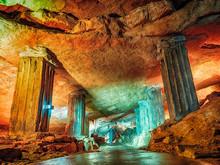 Wonderful Prometheus Cave. Stalactites And Stalagmites In The Illuminated Cave