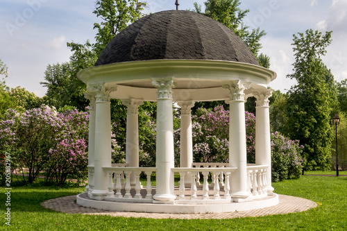 Tablou Canvas Beautiful white gazebo in a blooming spring Park