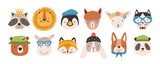Fototapeta Fototapety na ścianę do pokoju dziecięcego - Collection of cute funny animal faces or heads wearing glasses, hats, headbands and wreaths. Set of various cartoon muzzles isolated on white background. Colorful hand drawn vector illustration.