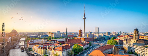 Poster Berlijn Berlin Skyline mit Nikolaiviertel, Berliner Dom und Fernsehturm