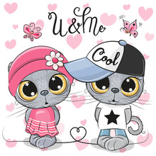 Kittens Boy And Girl On A Hearts Background