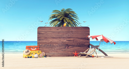 фотографія  Summer time holiday background 3D Rendering