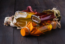 Bottles With Different Kinds Of Virgin Vegetable Oil